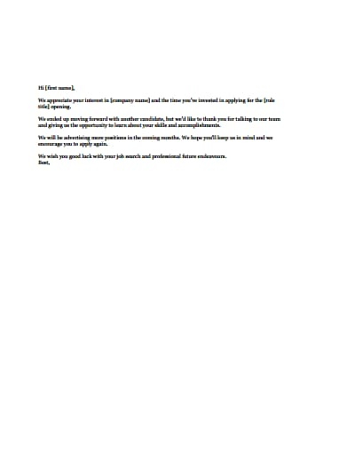 rejection letter template 4