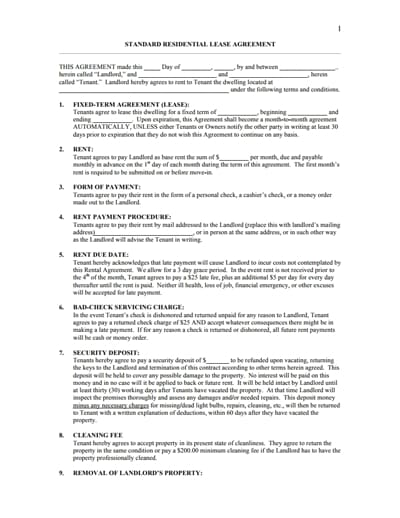 residential lease agreement template 1