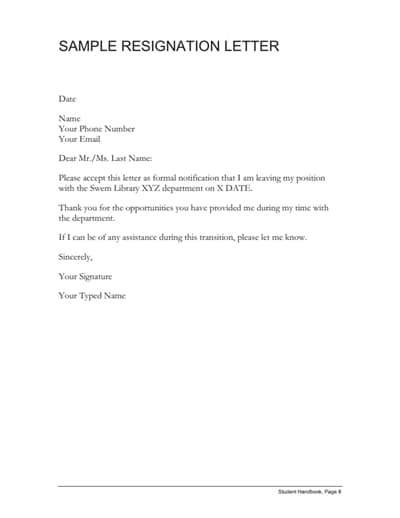 Resignation Letter Template Free Download Create Edit Fill Wondershare Pdfelement