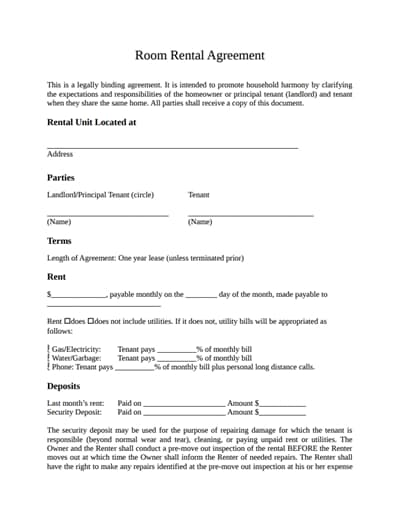 Room Rental Agreement Template: Free Download, Create ...