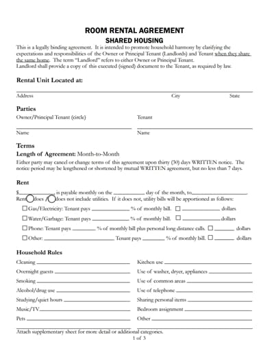 room rental agreement template 2