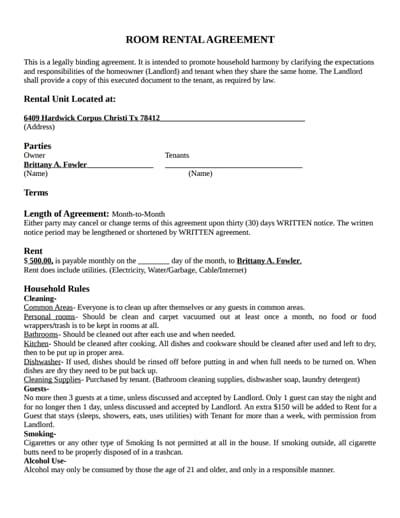 room rental agreement template 4