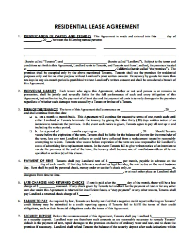 sample lease agreement template 1