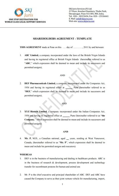 Shareholder Agreement Template