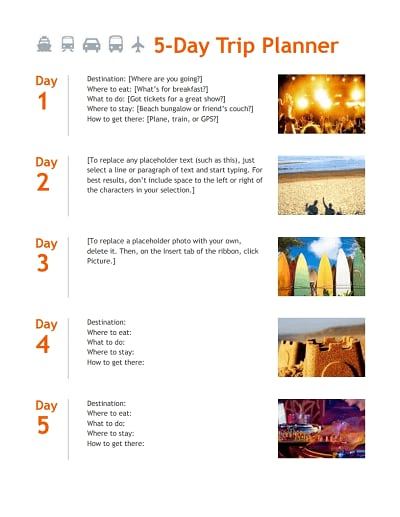Trip Itinerary Template Free Download Edit Fill Create And Print Wondershare Pdfelement