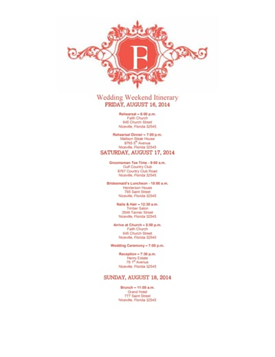 wedding itinerary template 1