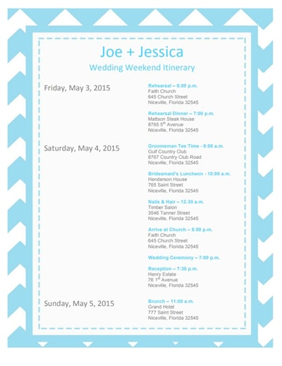 wedding itinerary template 2