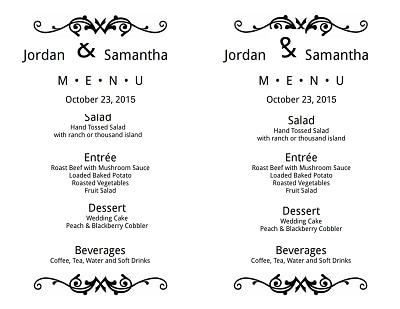 wedding menu template 1
