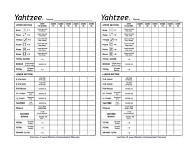 yahtzee score sheet 3