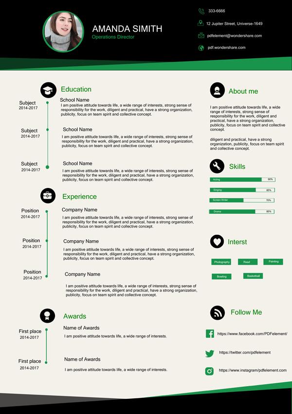 Resume Template - Elegant Green