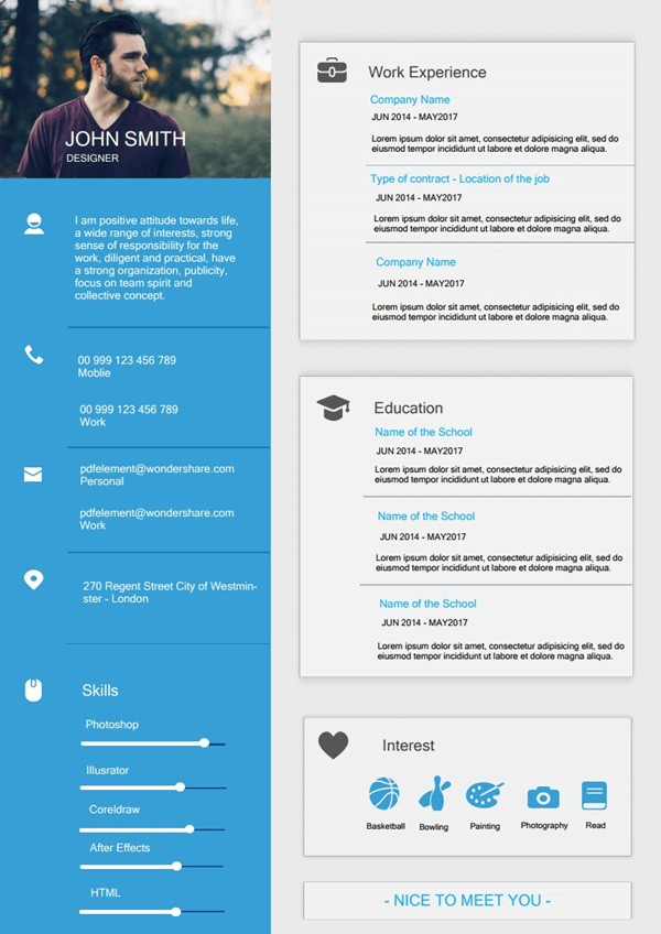 Resume Template - Modern Blue