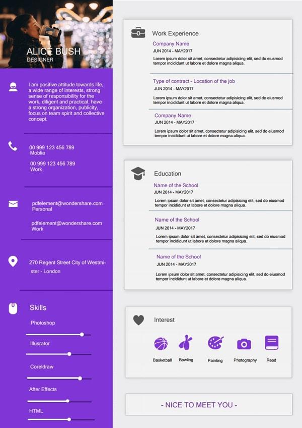 Resume Template - Modern Violet