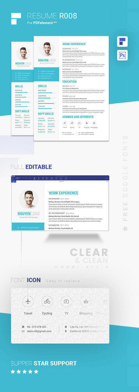 Resume Template - Skyblue Pro