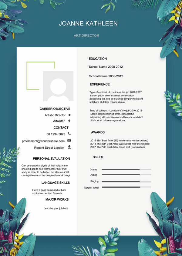 Resume Template - Summer Flower