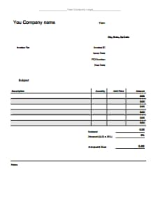 Blank Invoice Template: Download, Create, Edit, Fill and Print