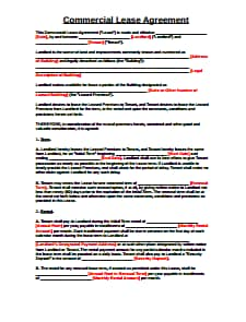 Commercial Lease Agreement Template: Download, Create, Edit, Fill and Print