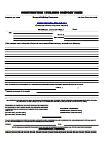 Construction Proposal Template: Download, Create, Edit, Fill and Print