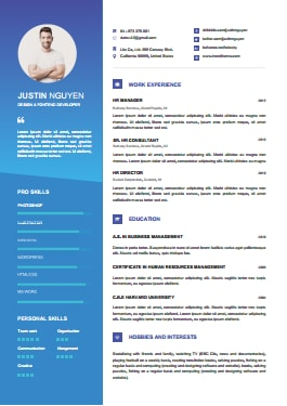 Resume Template - Contemporary Blue