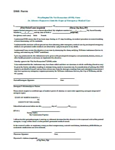 Do Not Resuscitate Form : Download, Edit, Fill, Create and Print