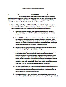 Durable Power of Attorney Form- Download, Create, Edit, Fill and Print