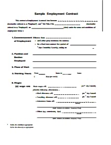 Employment Contract Template: Download, Create, Edit, Fill and Print