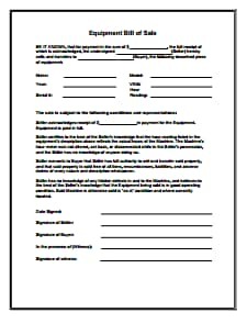 Equipment Bill of Sale Form: Download, Create, Edit, Fill and Print