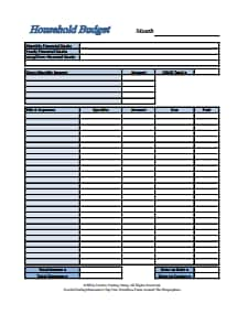 Household Budget Template: Free Download, Create, Edit, Fill and Print