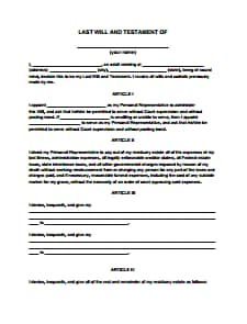 Last Will and Testament Form- Free Download, Create, Edit, Fill and Print