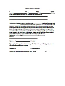 Limited Power of Attorney Form: Free Download, Create, Edit, Fill and Print