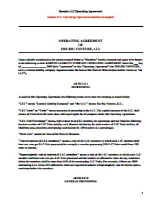 LLC Operating Agreement Template: Free Download, Create, Edit, Fill and Print