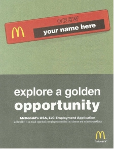 McDonalds Application Form: Free Download, Create, Edit, Fill and Print