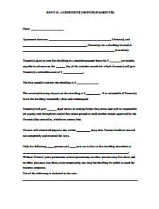 Month to Month Rental Agreement Template: Free Download, Create, Edit, Fill