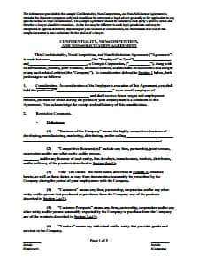 Non-Compete Agreement - Free Download, Create, Edit, Fill and Print PDF Template