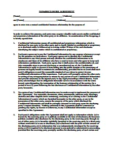 Non Disclosure Agreement - Free Download, Create, Edit, Fill PDF Template
