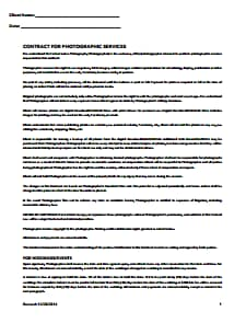 Photography Contract Template: Free Download, Create, Edit, Fill and Print