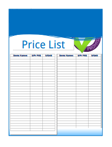 Price List Template: Free Download, Create, Edit, Fill and Print