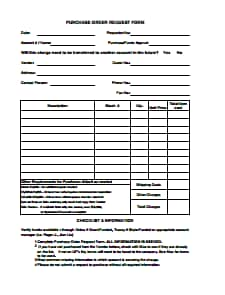 Purchase Order Request Form Template: Free Download, Edit, Fill, Create and Prin