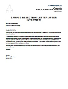 Rejection Letter Template: Free Download, Create, Edit, Fill and Print