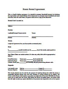 Room Rental Agreement Template: Free Download, Create, Edit, Fill and Print