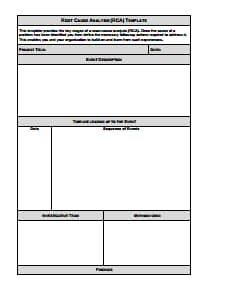 Root Cause Analysis Template: Free Download, Edit, Fill, Create and Print