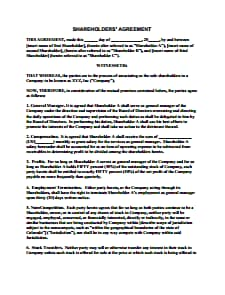 Shareholder Agreement Template: Free Download, Create, Edit, Fill and Print