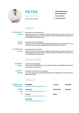 Resume Template - Skyblue Lite