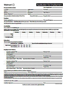 Wal-Mart Application Form: Free Download, Edit, Fill, Create and Print
