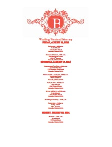 Wedding Itinerary Template: Free Download, Edit, Create, Fill and Print