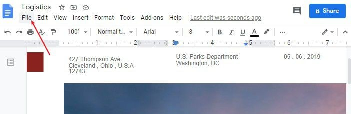 convert google docs to word