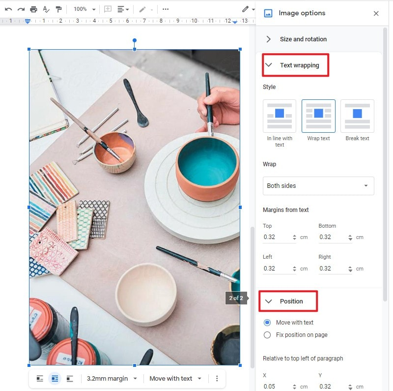 move images in google docs