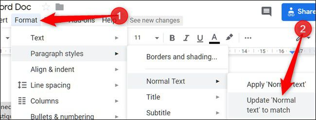 chang the default font in google docs