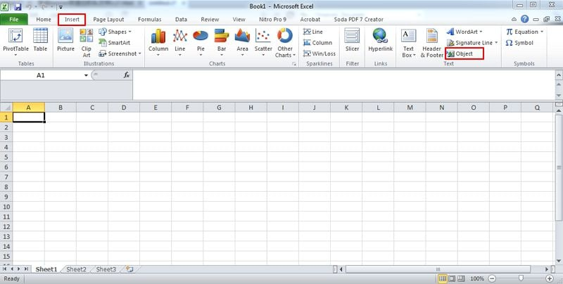 inserire pdf in excel
