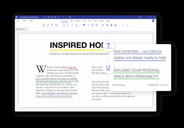 Underline text on pdf