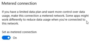 set as metered connection